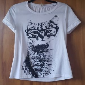 Black and White Cat with Glasses T-Shirt